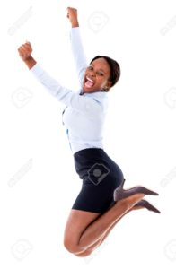 20962070-Successful-business-woman-jumping-with-arms-up-isolated-over-white-Stock-Photo